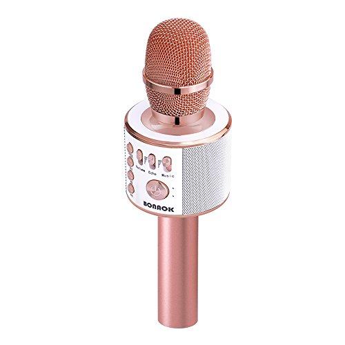 BONAOK Micrófono inalámbrico Bluetooth Karaoke, 3 en 1 con sonido mágico portátil de mano para karaoke o karaoke, máquina de altavoces para iPhone, Android, iPad, Sony, PC, todos los teléfonos inteligentes (oro rosa)