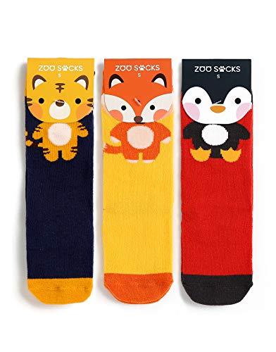 Vaenait Baby ZOO SOCKS Chaussettes pour bébé garçon 3 oz Lot de 6 paires de chaussettes antidérapantes Motif animaux - Multicolore - S