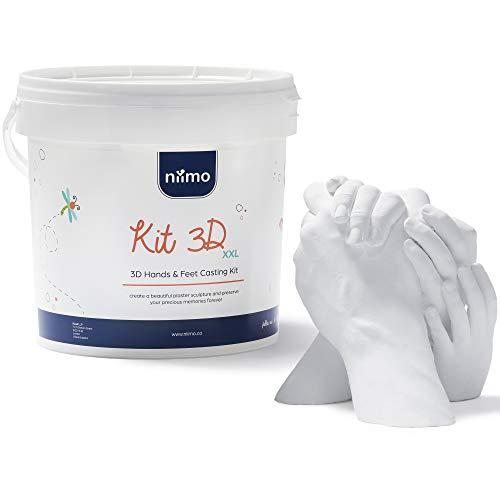 Niimo 3D Kit Huella Familias Niños Adultos Kit 3D Completo Alginato para Moldes de Manos y Yeso Envase y Herramientas Fácil Elaboración Esculturas Realistas.