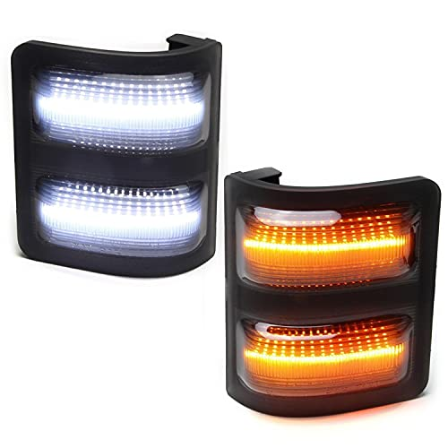 iJDMTOY Smoked Lens Switchback LED Side Mirror Marker Lamps Compatible with...