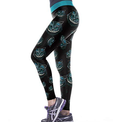 Legginges Alice's Abenteuer im Wunderland Damen Cheshire Cat Print 3D Legins hohe elastische Taille Band Slim Fitness Wkyk1004 M