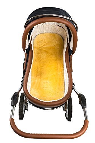 Hofbrucker Baby Lammfell-Auflage/Lammfelleinlage für Kinderwagen & Softtragetasche & Buggy & Kinderbett/Lammfell Einlage/Lammfell medizinisch gegerbt, Größe:Kinderwagen-Auflage 75x32 cm