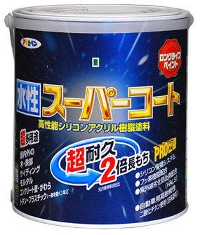 アサヒペン ペンキ 水性スーパーコート 水性多用途 赤 1.6L