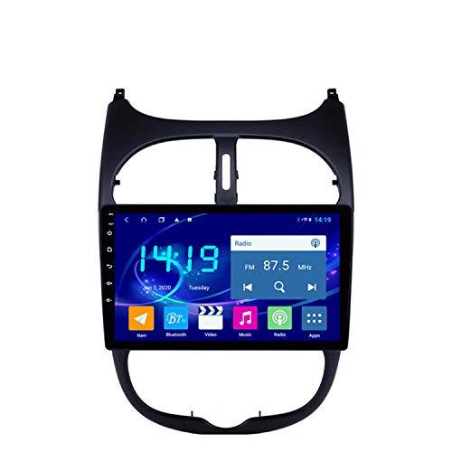 BBGG Navegación GPS para automóvil Android 9 Sat, teléfono Manos Libres Bluetooth con Imagen de Marcha atrás/Radio DVD/USB/SD/Audio/Video, navegador GPS 4G + 64G Compatible con Peugeot 206