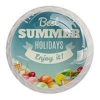 キャビネットノブ4個クリスタルガラスプルハンドルホリデーアイスクリームオレンジジュースフルーツ熱帯をお楽しみください 家具のドアまたは引き出しを開く場合