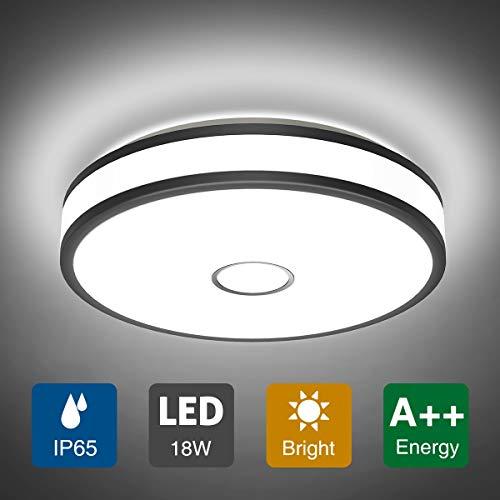 Onforu 18W LED Deckenleuchte Badezimmer, IP65 Wasserdicht Deckenlampe Bad, 1600LM 5000K Kaltweiß Küchenlampe, Badlampe Badezimmerlampe, Mordern Decke Lampe Wandleuchte für Küche, Schlafzimmer, Büro