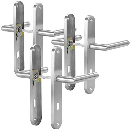AGT Türgriffe: 3er-Set Moderne Edelstahl-Türbeschläge, 6 Türklinken & 6 Langschilder (Türgarnituren)