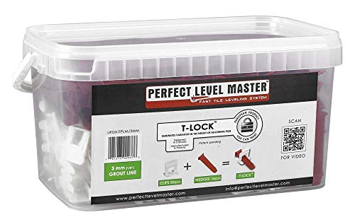 T-Lock tile leveling system by Perfect Level Master - Full KIT containing clips/spacers 100pcs + wedges 100pcs for lippage free tile instalation. (1/8' - 3mm)