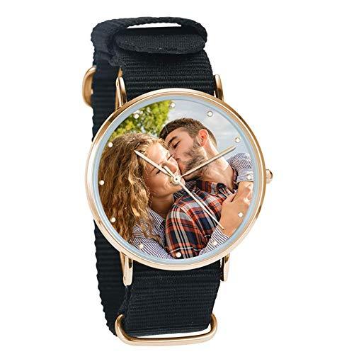 SOUFEEL Reloj Analógico Personalizados con Foto con Reloj Pulsera Mujer Hombre Cuarzo Ultra Delgada Regalo para Familia Amigo Novio para Cumpleanos Aniversaio
