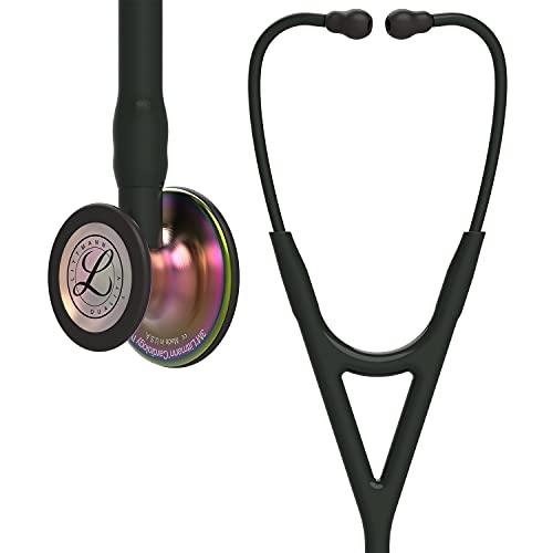 3M Littmann Cardiology IV Diagnostic Stethoscope, Rainbow-Finish Chest Piece, Black Tube, Stem and Headset, 27 Inch, 6165