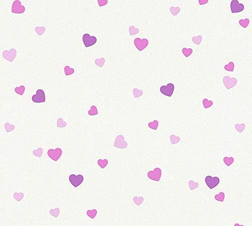 A.S. Création Strukturprofiltapete Boys & Girls 6 Tapete mit Herzen 10,05 m x 0,53 m creme metallic lila Made in Germany 357502 35750-2