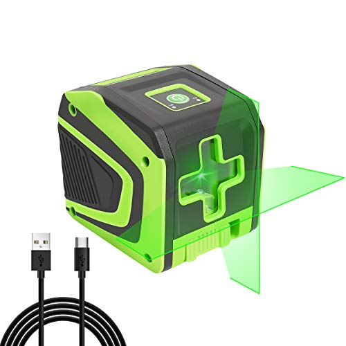 Huepar Self-leveling Laser Level with Rechargeable Li-ion Battery- Green Beam Cross Line Laser Level with Pulse Mode for Ceiling/Floor/Wall Application, Magnetic Metal Base Included - 5011GPro