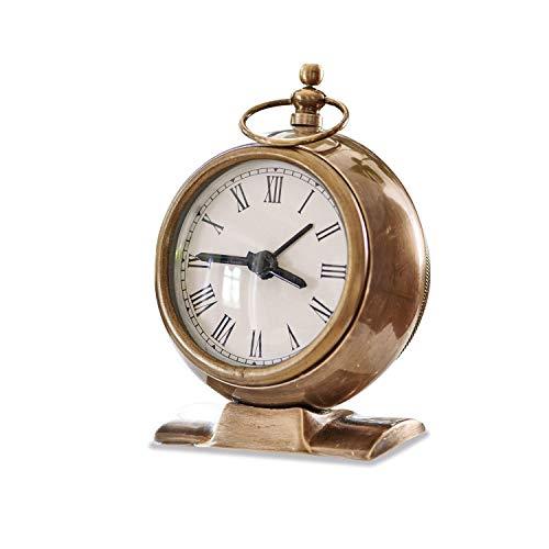 Loberon Uhr Boynes, Messing, Glas, H/B/T ca. 12/10 / 5 cm, antikmessing