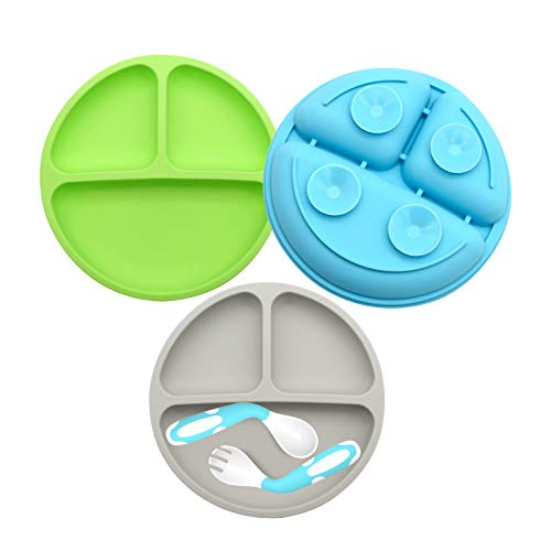 Suction Plates for Babies-3Pcs Set, 100% SiliconeToddler Plates, Divided Baby Plates, Dishwasher & Microwave Friendly, Food Grade Silicone Kids Plates with Spoon Fork