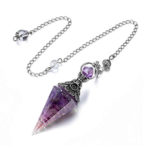 Top Plaza 6 Facet Hexagonal Point Pendant Pendulum for Reiki Wicca Dowsing Balancing Spiritual Resin Gemstone Crystal Amethyst Pendulums Necklace
