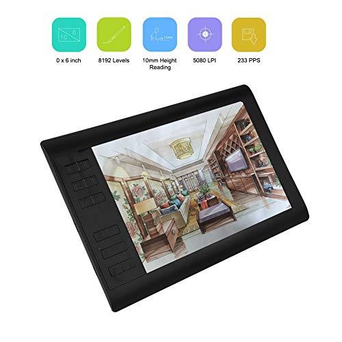 10 x 6-inch grafische tablet met groot scherm 5080LPI-resolutie Draagbare tekentablet 8192 pen printen Zeer gevoelige tekenpen met pennenhouder