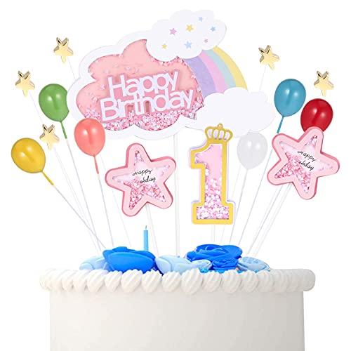 AUXSOUL Cake Topper Compleanno 1 Anno Decorazioni per Torta Compleanno Happy Birthday Cake Topper Topper Torta Finta Compleanno Bimba Ragazzo Capretto 1 Anno (Rosa)