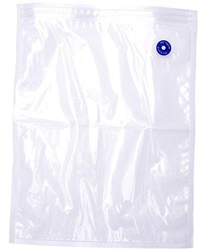 culinario Dr. Save - Confezione da 10 sacchetti in plastica con valvola a doppia chiusura per sottovuoto, 27 x 35 cm, riutilizzabili, ermetici, trasparenti