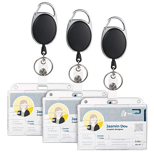 Vicloon Mejorar Llavero Retráctiles de Alta con Funda para Tarjeta, 3 Pcs Soporte de Tarjeta ID con Clip de Cinturon con Cordón de Nylon Extensible, Tarjetero de Doble Cara para Oficina Autobús