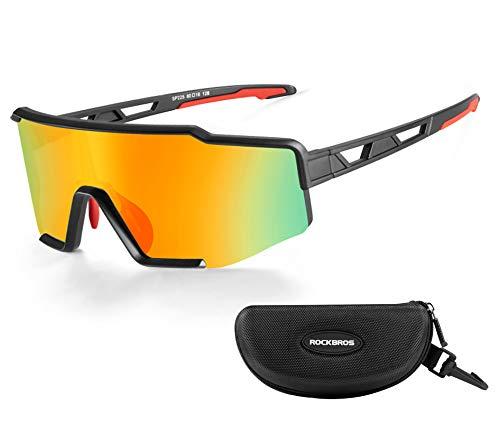 ROCKBROS Sonnenbrille Polarisierte Fahrradbrille mit UV400 Schutz Winddicht Sportbrille für Radfahren Autofahren Golf Angeln Unisex Erwachsene Schwarz