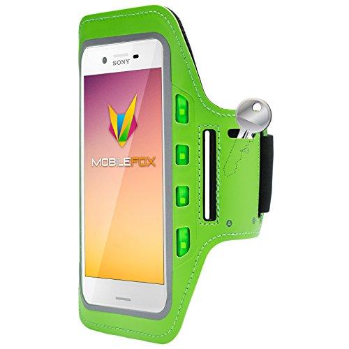 Mobilefox Handytasche Sport Armband mit LED-Licht & Schlüsselfach Sweatproof für 6,0 Zoll Sony Xperia XA Grün - Joggen Schutzhülle Smartphone Halter
