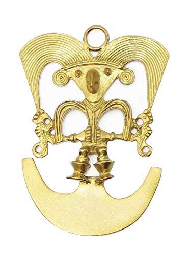 Anhänger zoomorphistisches Design Schamane / Vogel vergoldet mit 24 Karat Gold Vergoldet