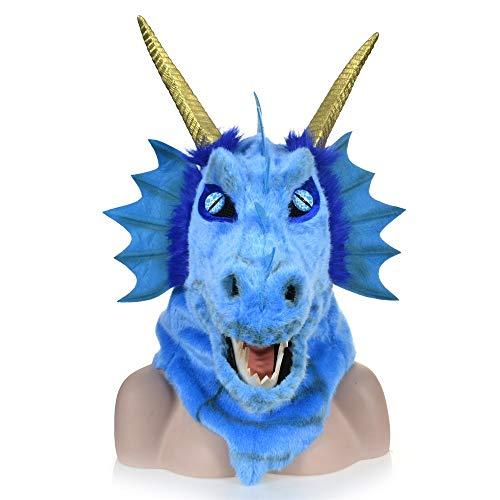 ManY Viele Kostüm Kopf Maske Anzeigen-Design, das Mund-Blaue Drache-Kopf-Bunte Tierpelz-Partei-Kopf Maske-Fabrik bewegt (Color : Blue)
