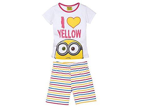 Kleinkinder Mädchen Schlafanzug Shorty Set Short T Shirt mit Motiv (122/128, Minions I Love Yellow)
