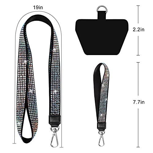 Phone Lanyard, SHANSHUI Universal Nylon Bling Neck Lanyard and Wrist Strap With 1 Patch Tether Cell Phone Charm Lanyard Compatible with iPhone and All Smartphones(Black)
