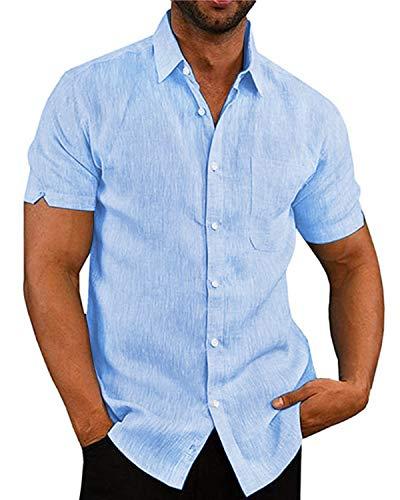 AUDATE Herren Kurzarm Hemden Button Down Sommer Beach Casual Hemd Shirt Blau L