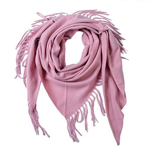 Yanshan Europäische und amerikanische Stil feste Farbe im Herbst und Winters Kaschmir warmen Schale mit Fransen Dreieckstuch (Color : Pink, Size : 135-175CM)