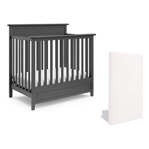 For Sale! Storkcraft Petal 5-in-1 Convertible Mini Crib with Bonus Mattress – Includes Premium Sup...
