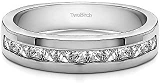 TwoBirch Sterling Silver Twelve Stone Channel Set Princess Cut Men's Wedding Ring With Cubic Zirconia(0.98Ct. Size 9.25)