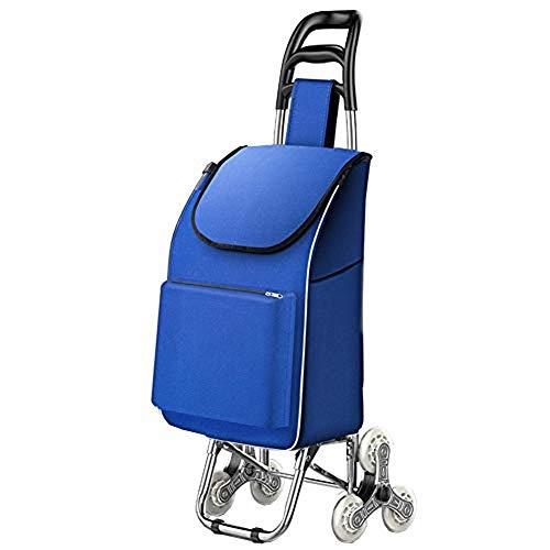 Léger Caddie, Pliable Chariot à achats sur Roues, léger Panier avec Sac de Refroidissement isolé,Bleu