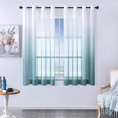 MRTREES Voile Gardinen Farbverlauf Leinenoptik Transparent Vorhang Kurz Tüllvorhang mit Ösen Blau 160×140cm (H×B) Modern für Dekoration Kinderzimmer Wohnzimmer Schlafzimmer 2er-Set