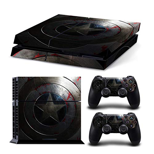 TASLAR Designer Protective Vinyl Skin Decal Sticker Pattern Cover Set Compatible with PS4 Playstation 4 Console and Controller (Captain America Shield)