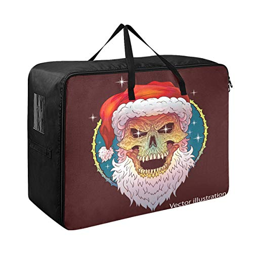 Godfery Gabriel Comforter Storage Bags Retro Christmas Skull Cool Extra Large Blanket Clothes Storage and Organization Space Saver Bed Closet Lidded Storage Cubes Basket Containers for Bedding, Cargo