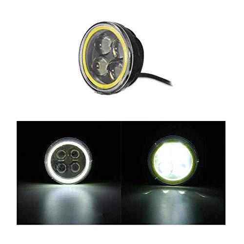 MOMOALA MOMOALA 9V-12 V 12V Rond LED Hi/Lo Faisceau De Travail avec Lumière RGB Angel Halo Spot Phare-Blanc