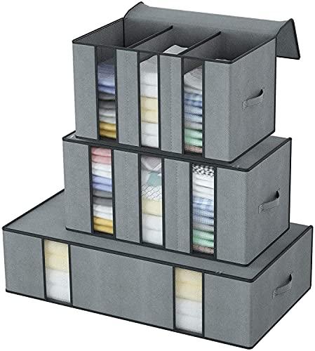 DIMJ 3 Stück Aufbewahrungstasche mit Transparentem Sichtfenster und Griffe für Bettwäsche,Bettdecken, Kissen,Einer Decke,Kleidung,Organisator-Beutel für Saisonartikel