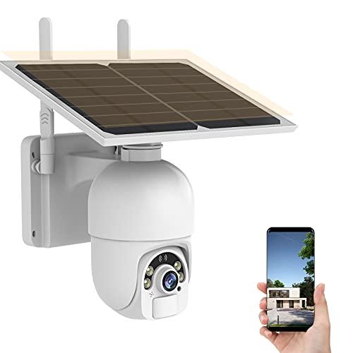 Cámara de WiFi Exterior Vigilancia Batería Exteriores PTZ Cámara de Seguridad Exterior Solar sin Cables Inalámbrica Audio Bidireccional Detección de Movimiento Radar PIR Impermeable IP66