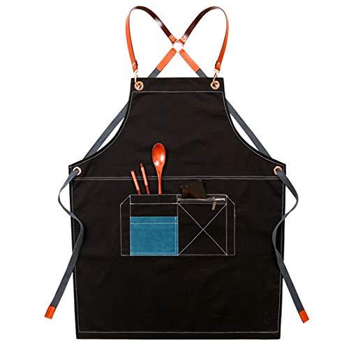 YUENA CARE Delantal Ajustable Denim Babero de Trabajo de Cocina con Cintura Espalda Cruzada con Bolsillos para Unisex Resistente para Cafetería Restaurante Peluqueria Negro + Azul
