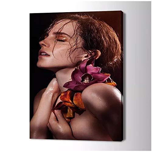 Lefgnmyi Impresión de lienzo de Emma Watson, pintura artística para pared, póster de imagen artística para sala de estar, decoración del hogar, impresión en lienzo-20x28 en sin marco