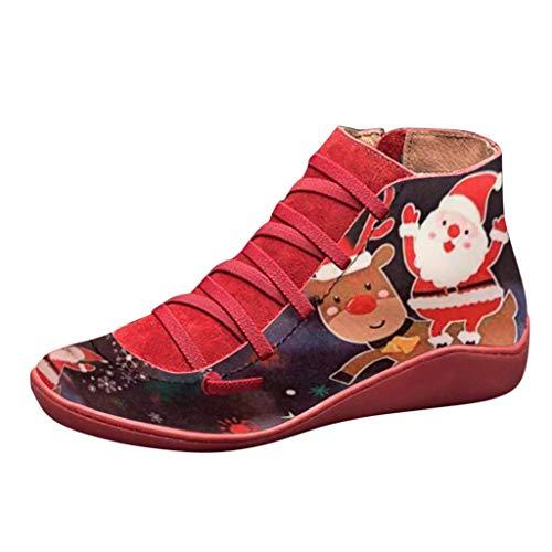 BURFLY Frauen Casual Flache Leder Retro Schnürstiefel Seitlicher Reißverschluss Runde Kappe Schuh Stiefel Weihnachtsmode Bequeme Atmungsaktive Flache Stiefel
