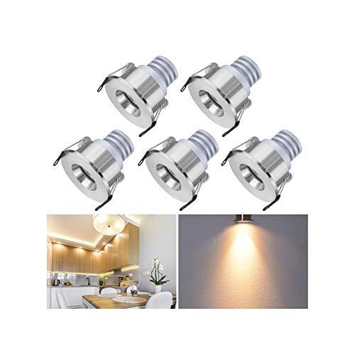 Mini Klein Einbaustrahler LED Set 5er, Audor 3W LED Deckenstrahler Schwenkbar COB Deckenspots Einbauleuchte Aluminium Spots LED Set für Weinschrank/Schrank/Küche/Wohnzimmer -Warmweiß