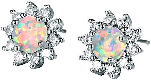 925 sterling silver women earrings sunflower shape-White opal