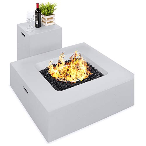 Best Choice Products 35x35-inch 40,000 BTU Square Propane Fire Pit Table for Backyard, Poolside w/Gas Tank Storage Side Table, Weather-Resistant Pit Cover, Glass Rocks - Gray
