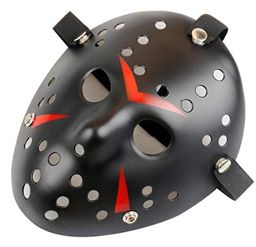 Gmasking Horror Halloween Costume Hockey Adult Mask Party Cosplay Props (Black)