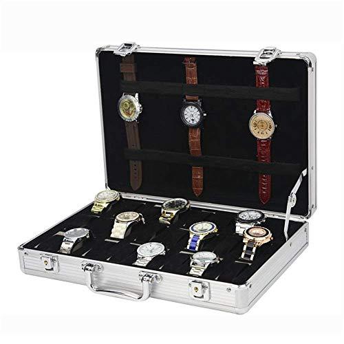 GPWDSN Caja de Almacenamiento Caja de Reloj Caja de Almacenamiento de Reloj de 24 Ranuras Material de aleación Reloj Traje de joyería de Gran tamaño Cubierta abatible de Aluminio Caja de Prese