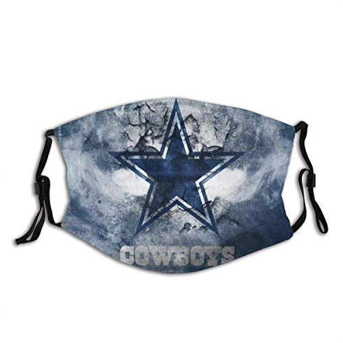 Dallas-Cowboy Face Mask Reusable Bandana for Men Womens Cover Protection Shield Washable Breathable Balaclava with 2 Filter(style-1)