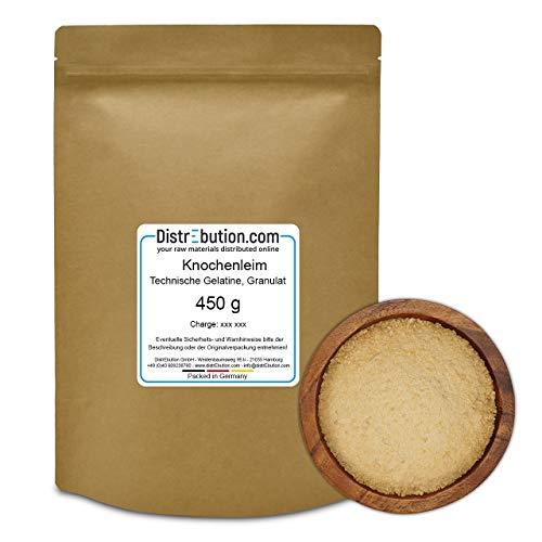 450 g Knochenleim Granulat - Warmleim & Hautleim - Tierischer Leim, Perlleim für Klebstoff, Holz, Papier und mehr geeignet.
